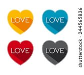 flat hearts with word   love...   Shutterstock .eps vector #244565836