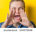 two hands covering her mouth on ... | Shutterstock . vector #244570048