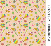 birthday party seamless pattern.... | Shutterstock .eps vector #244577644