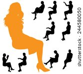 vector silhouette of a woman on ... | Shutterstock .eps vector #244580050