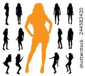 vector silhouette of a woman on ... | Shutterstock .eps vector #244582420