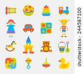 toys bright color icons on... | Shutterstock .eps vector #244587100