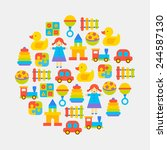 toys color icons arranged in... | Shutterstock .eps vector #244587130