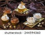 gourmet dessert   brownie cakes ... | Shutterstock . vector #244594360