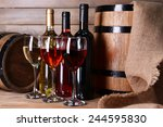different wine on table on... | Shutterstock . vector #244595830