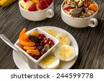 fresh fruit and oatmeal with...   Shutterstock . vector #244599778