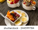 fresh fruit and oatmeal with...   Shutterstock . vector #244599784