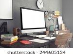 3d rendering of  workspace | Shutterstock . vector #244605124