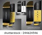 vertical leaf business card   Shutterstock .eps vector #244624546