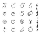 fruits and vegetables icons | Shutterstock .eps vector #244628923