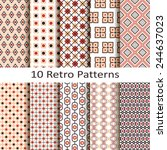 set of ten retro patterns | Shutterstock .eps vector #244637023