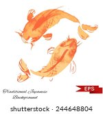 golden carp ink background.... | Shutterstock .eps vector #244648804