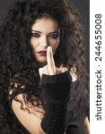 beautiful rocker girl making...   Shutterstock . vector #244655008