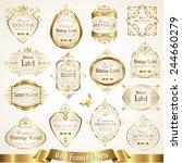 white gold framed labels set 6 | Shutterstock .eps vector #244660279