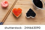 Two Heart Shaped Sushi With...