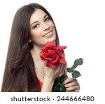 closeup portrait of attractive  ... | Shutterstock . vector #244666480