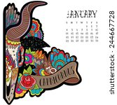 page astrological calendar.... | Shutterstock .eps vector #244667728