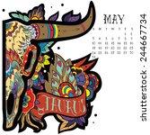 page astrological calendar.... | Shutterstock .eps vector #244667734