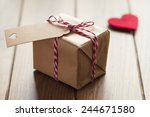 valentine's day. a paper parcel ... | Shutterstock . vector #244671580
