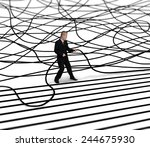 businessman unravels cable | Shutterstock . vector #244675930