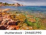 pink granite coast  brittany ... | Shutterstock . vector #244681990