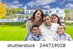 happy young hispanic family in... | Shutterstock . vector #244719028