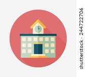 building school flat icon with... | Shutterstock .eps vector #244722706