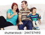 father  mother and son sitting... | Shutterstock . vector #244737493