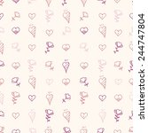 pattern with hearts and flowers ... | Shutterstock .eps vector #244747804