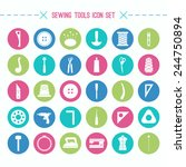 sewing and hobby tools icons... | Shutterstock .eps vector #244750894
