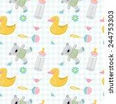 baby shower seamless vector... | Shutterstock .eps vector #244753303