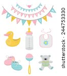 baby shower vector set | Shutterstock .eps vector #244753330
