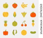 fruits and vegetables color... | Shutterstock .eps vector #244763263