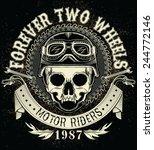 vintage biker skull emblem | Shutterstock .eps vector #244772146