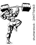 strong bodybuilder presses the... | Shutterstock . vector #244776463