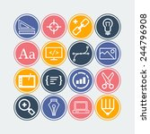 set of simple icons for web... | Shutterstock .eps vector #244796908