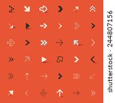 vector arrows set on red retro... | Shutterstock .eps vector #244807156