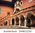Courtyard at the famous Jagiellonian University in Cracow, Poland
