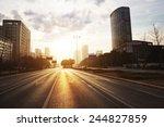 modern city road scene at sunset   Shutterstock . vector #244827859