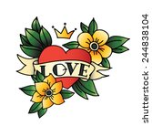 hand drawn tattoo heart with... | Shutterstock .eps vector #244838104