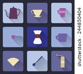flat modern icons for coffee... | Shutterstock .eps vector #244850404