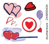 heart set. hand drawn vector... | Shutterstock .eps vector #244850434