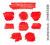 bright red marker pen spots and ... | Shutterstock .eps vector #244853308