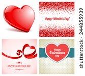 set of happy valentines day... | Shutterstock .eps vector #244855939