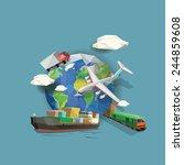 low polygon transportation... | Shutterstock .eps vector #244859608