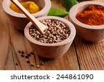 coriander into the wooden bowl... | Shutterstock . vector #244861090