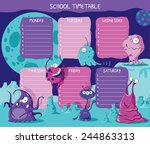school timetable with funny... | Shutterstock .eps vector #244863313