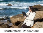 woman using digital tablet... | Shutterstock . vector #244864000