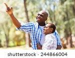 cheerful young african couple... | Shutterstock . vector #244866004
