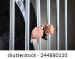 close up of businessman in jail ... | Shutterstock . vector #244880110